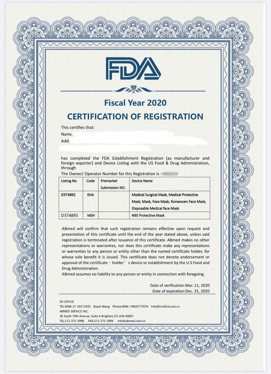 Certificate for face mask